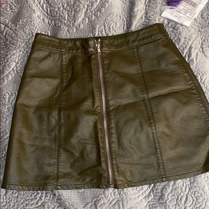 FAUX leather front zip mini skirt